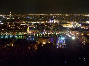 Festival of Lights (Lyon) - Lyon during the 2008 Festival of Lights, seen from Fourvière hill.