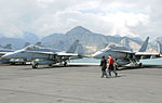 F-18Cs of VFA-15 and VFA-87 on USS GHW Bush (CVN-77) in 2014.JPG