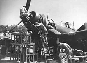 Nissan Island Airport - An F4U of 16 Squadron being serviced in December 1944