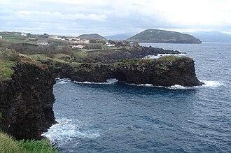 Feteira (Horta) - The coast of Feteira, showing the rocky cliffs and vista of Monte da Guia (to the east), Faial  Island