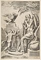 Father Time at the right leaning on a scythe, three naked boys and eagle at the left MET DP812767.jpg