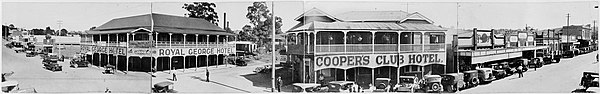 Panoramic view of Currie Street in Nambour circa 1932