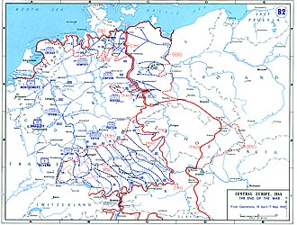 Line of contact - Final positions of the Western Allied and Soviet armies, May 8, 1945. Areas not yet occupied also indicated