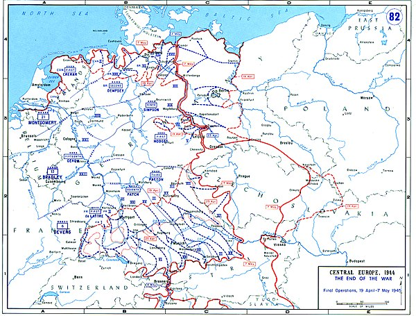 The final operations of the Western Allied armies between 19 April and 7 May 1945 and the change in the Soviet front line over this period Final Operations - 19 April-7 Mai 1945.jpg