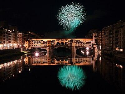 Fireworks over Ponte Vecchio