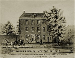 Drexel University College of Medicine - The first building to house the Woman's Medical College of Pennsylvania, founded in 1850.