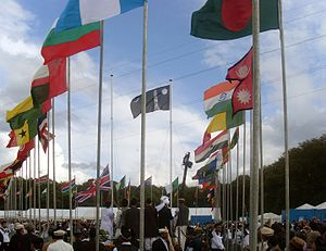 Jalsa Salana - Flag hoisting at the international Jalsa Salana UK 2009