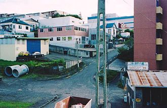 Basque Park - The Industrial enclave in Fleet Street, Eden Terrace, Auckland. Smiths and Jennings engineering were to the northern boundary of the Basque Park Reserve. Note the new residential flats on the right.