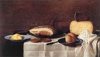Nature morte avec jambon et fromage