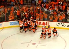 1b2e908f733198 The Flyers celebrate Claude Giroux's overtime goal in game three of the  2010 Stanley Cup Finals.