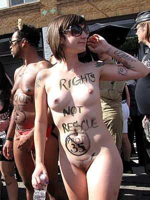 Folsom Street Fair - A woman uses her body to demonstrate for more rights for sex workers' rights