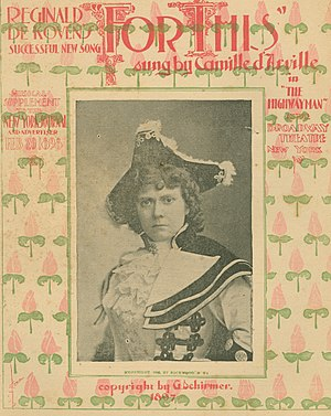 Camille D'Arville - Sheet music featuring Camille D'Arville in cavalier costume, from the New York Public Library