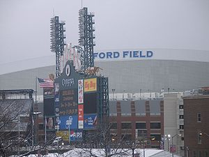 Super Bowl XL - Ford Field on Super Bowl XL Sunday, countdown to kickoff on Comerica Park's score board.
