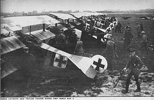Central Powers - German Fokker Dr.I fighter aircraft of Jasta 26 at Erchin in German-occupied territory of France.