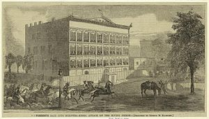 Memphis, Tennessee - Attack on Irving Block by General Forrest in 1864