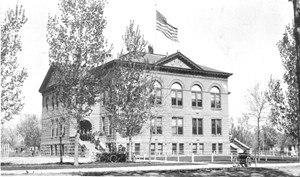 Poudre School District - The original school building, c. 1910