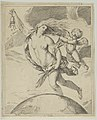 Fortune flying above the globe, partly naked, emptying a purse in her raised right hand and holding a staff in her left, a winged putto pulling her forelock, after Reni MET DP841466.jpg