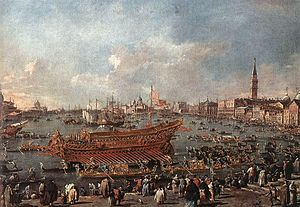 Francesco Guardi - The Doge on the Bucintoro near the Riva di Sant'Elena - WGA10855.jpg