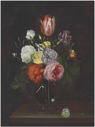 Frans Ykens - Bouquet of flowers in a glass vase, with a butterfly on a wooden tabletop
