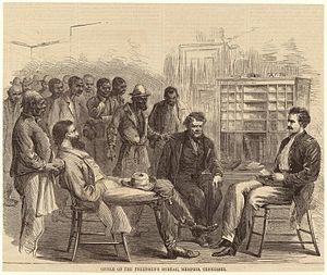 Freedmen's Bureau - The Freedmen's Bureau office in Memphis, Tennessee, 1866.