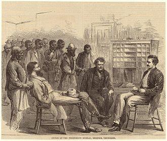 Freedmen's Bureau - The Freedmen's Bureau office in Memphis, Tennessee, 1866.