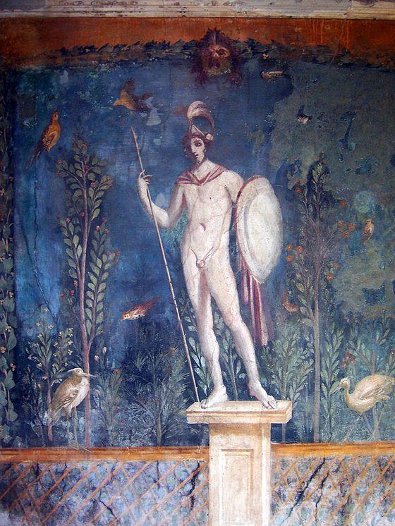 Statua di Marte nudo in un affresco di Pompei.