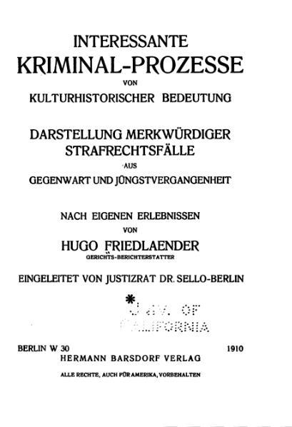 File:Friedlaender-Interessante Kriminal-Prozesse-Band 1 (1910).djvu