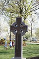 Front lawn Celtic cross with Easter eggs.jpg