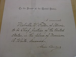 Melville Fuller - Fuller's Chief Justice nomination