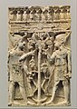 Furniture plaque carved in high relief with two Egyptianizing figures flanking a volute tree MET DP109169.jpg