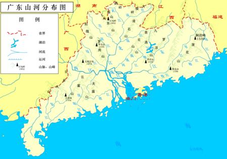 广东主要山脉河流分布图