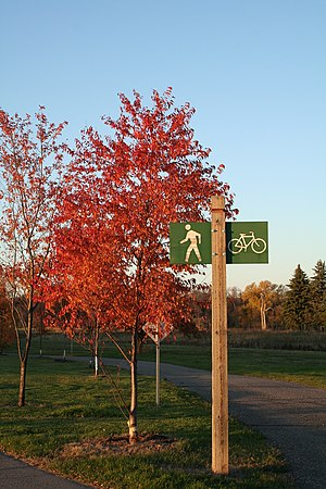 Greater Grand Forks Greenway - A sign near the Olson/Elmwood access in Grand Forks