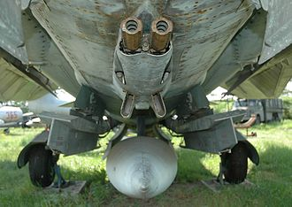 GSh-23 autocannon mounted on the underside of a Mikoyan-Gurevich MiG-23 GSh-23 on MiG-23.jpg