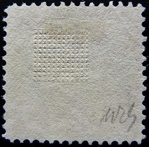 "Grill (philately) - ""G"" grill on a stamp of the 1869 issue"