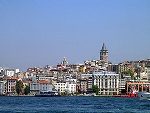 Galata - A view of Galata (modern Karaköy) with the Galata Tower (1348) at the apex of the medieval Genoese citadel walls, which were largely demolished in the 19th century to enable northward urban growth.
