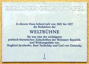 Weltbühne-Prozess - Memorial plate Berlin-Charlottenburg Wundtstr 65 house of the redaction 1921-1927