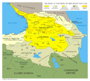 Zakarid Armenia - Kingdom of Georgia at the peak of its power under Tamar of Georgia and George IV of Georgia (1184-1223).