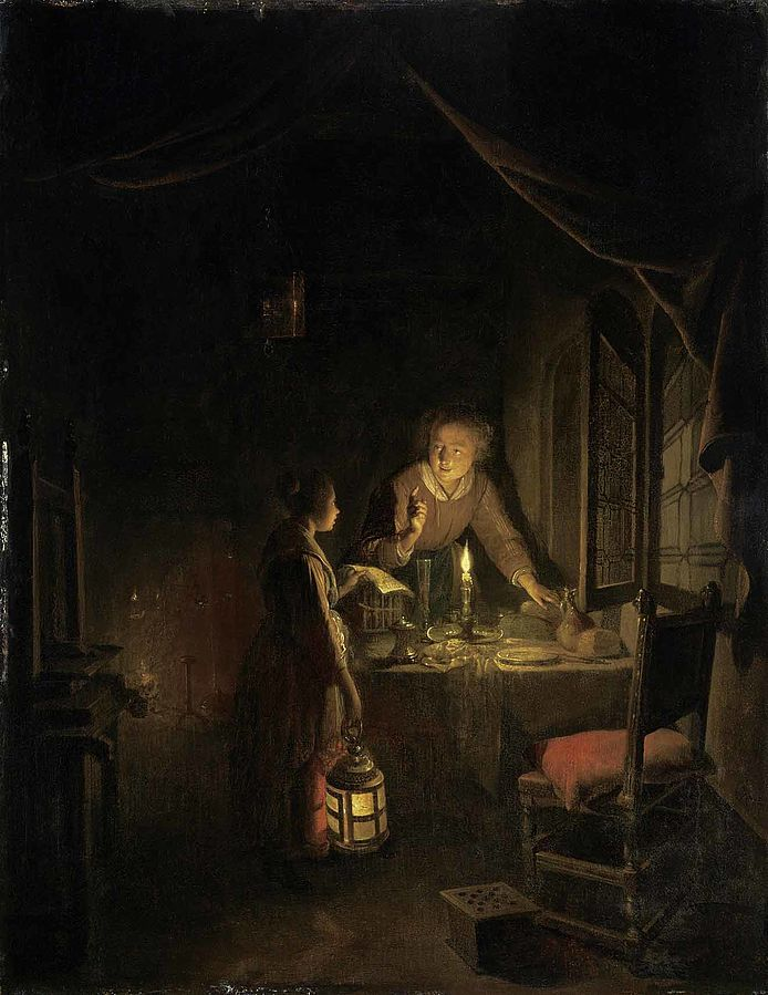 A Young Woman engaged at the Supper-table