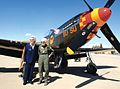 Geri Nyman and Betty Blake in front of a P-51 Mustang on Luke AFB, March 4, 2010.JPG