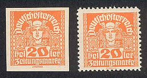 Republic of German-Austria - Twenty-heller German Austrian newspaper stamps from 1920.