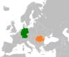 Lage von Deutschland und Rumänien