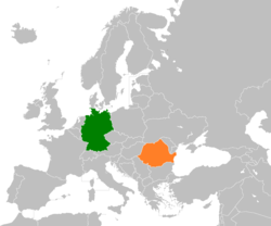 Map indicating locations of Germany and Romania