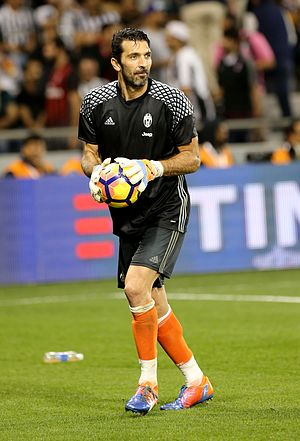 Gianluigi Buffon - Buffon warming up before the 2016 Supercoppa Italiana.