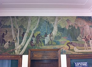 "Gibson City, Illinois - The 1940 WPA mural ""Hiawatha Returning with Minnehaha"" by Francis Foy is on display in the Gibson City Post Office"