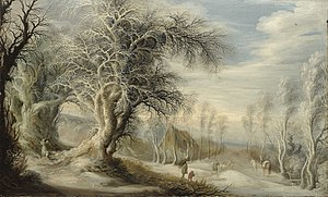 Gijsbrecht Leytens - A winter landscape with a woodsman and travelers
