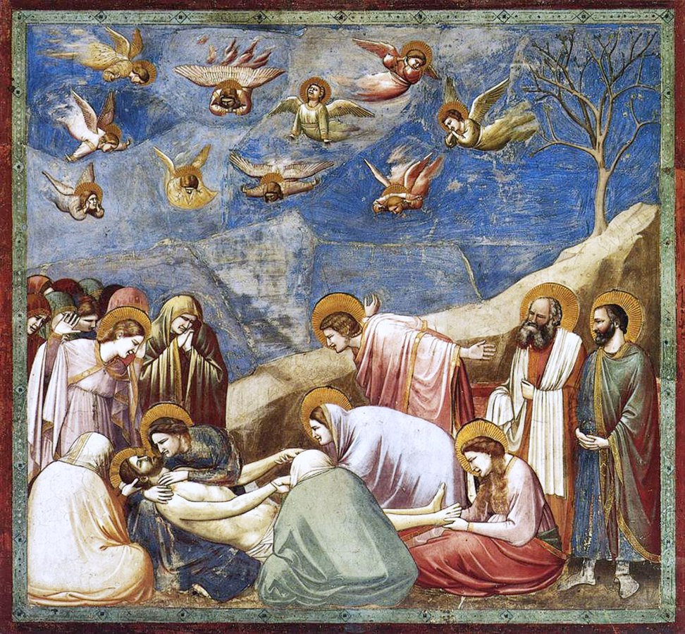 Giotto di Bondone, Scenes from the Life of Christ: Lamentation (The Mourning of Christ), 1304-06, Scrovegni Chapel, Padova, Italy.