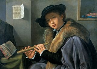 Portrait of a man playing flute.