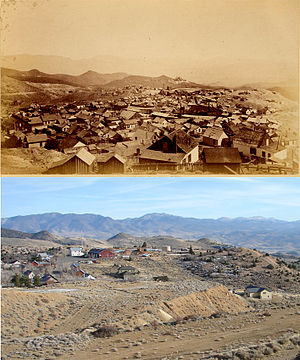 Gold Hill, Nevada - Gold Hill, Nevada: before 1900 (top) and in  2007. Both photos taken from (roughly) the same viewpoint. An open-pit mine was dug (ramp lower left, bottom photo) after 1900.