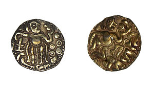 Sources of ancient Tamil history - Gold coin of Raja Raja Chola I, 985 – 1014, found in Sri Lanka.
