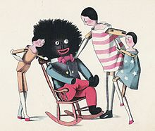 A drawing depicting  a rag doll with a big, black head, sitting in a rocking chair, with three white children standing by (As seen in the Beaton household).